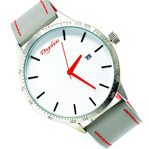 XXL Psychoo Grau Silber Datumsanzeige Elegant Sportlich Uhr
