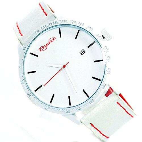 XXL Psychoo Weiss Rot Datumsanzeige Elegant Sportlich Uhr