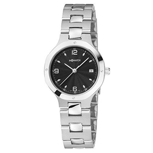 m watch Damen Quarzuhr mit schwarzem Zifferblatt Analog Anzeige und Silber Edelstahl Armband WRT 48220 SK