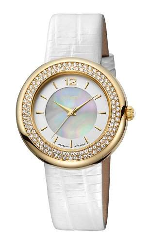 M-Watch Stones Ladies White Leather Stone Set Watch A6583061720