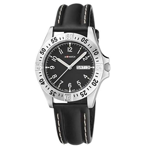 M-Watch Drive Mens Black Leather Day & Date Rotating Bezel Watch A6673043607