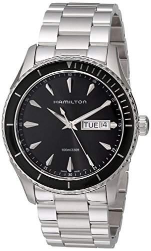 Hamilton Herren-Armbanduhr 41mm Armband Edelstahl Gehäuse + Schweizer Quarz Zifferblatt Schwarz H37511131