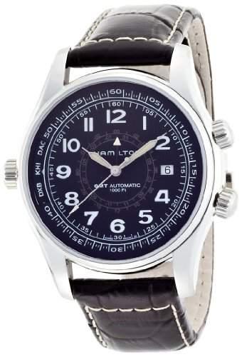 Hamilton Herren-Armbanduhr Armband Leder Gehaeuse Edelstahl Automatik Zifferblatt Schwarz Analog H77505535