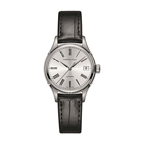 Hamilton Valiant Damen Armbanduhr 34mm Armband Leder Schwarz Gehaeuse Edelstahl Automatik Analog H39415754