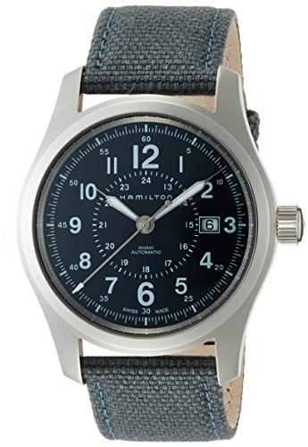 Uhr Hamilton Field h70605943 Schalter Stahl Quandrante blau Armband Stoff