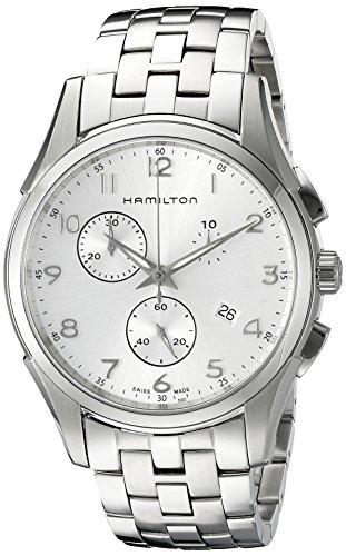 Hamilton Herren H38612153 Jazzmaster Thinline Chronograph Silver Dial Uhr