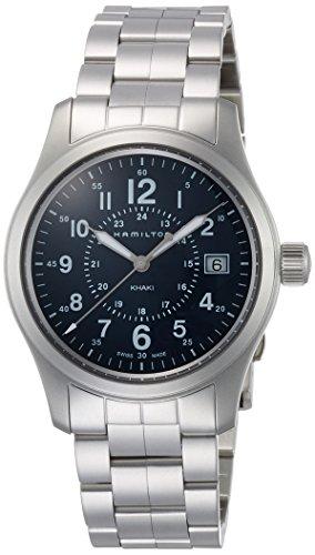 Uhr Hamilton Khaki Field Quartz h68201143 Quarz Batterie Stahl Quandrante blau Armband Stahl