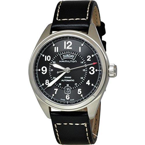 Hamilton Khaki Field Herren Armbanduhr 42mm Armband Leder Schwarz Gehaeuse Edelstahl Automatik H70505733
