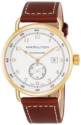 Hamilton Khaki Navy Herren Armbanduhr 43mm Armband Leder Braun Gehaeuse Edelstahl Automatik H77745553