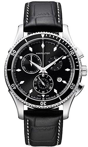 Hamilton Hamilton Jazzmaster Seaview Chronograph Schwarz Zifferblatt Schwarz Leder Mens Watch H37512731