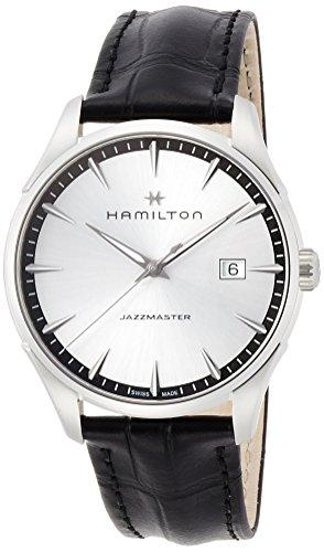 Hamilton Jazzmaster Gent h32451751 Quarz Batterie Stahl Quandrante Silber Armband Leder