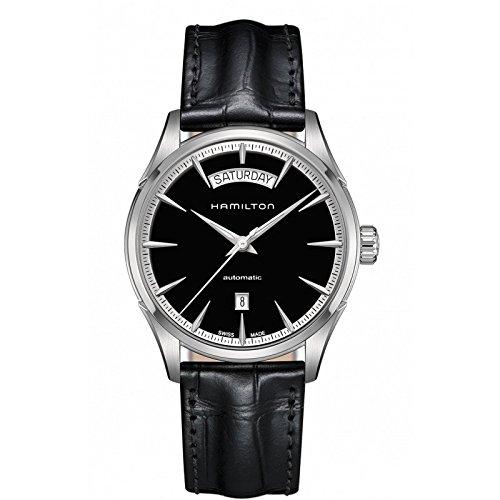 Uhr Hamilton Jazzmaster H42565731 Schalter Stahl Quandrante schwarz Armband Leder