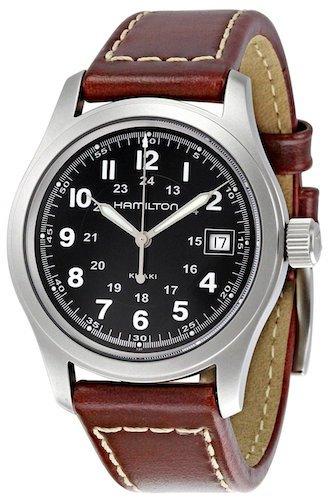 Hamilton Khaki Field Quarz Leder schwarz Watch H684812