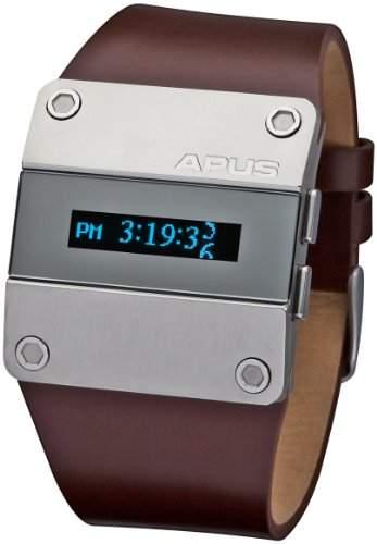 APUS Alpha Blue Stream AP-AH-BR-BL-SL-M OLED Uhr für Herren 2 Zeitzone