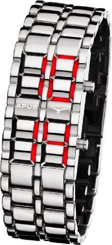 APUS Zeta Silver-Red LED Watch fuer Ihn Design-Highlight
