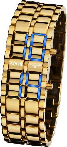 APUS Zeta Gold-Blue LED Uhr fuer Ihn Design Highlight
