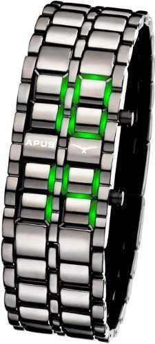 APUS Zeta Gunmetal-Green LED Uhr fuer Ihn Design Highlight