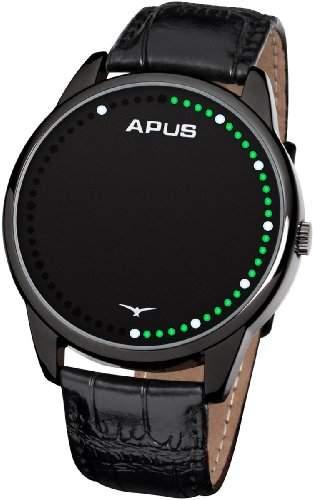 APUS Theta Black Green White AS-TT-BGW LED Uhr für Herren Analoge Zeitanzeige
