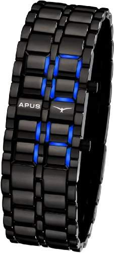 APUS Zeta Black-Blue LED Uhr fuer Ihn Design Highlight