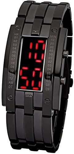 APUS TETA Gunmetal Red AS-TT-BR LED Uhr für Herren Massives Gehäuse