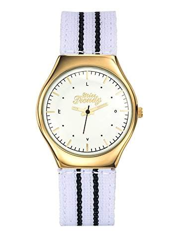 Trendy-Miss KL362 Maedchen-Armbanduhr Analog Nylon-bi-color