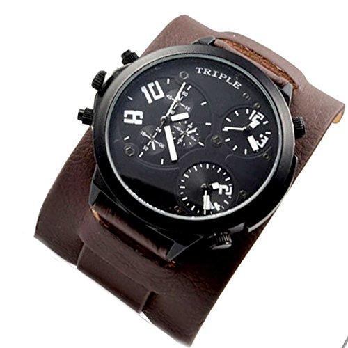 XXL Triple Time Schwarz Braun Weiss Retro Chrono Look Design U Boot Uhr jb 580