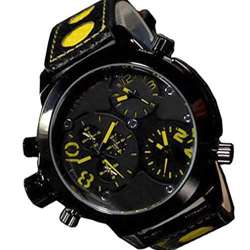 Herrenuhr Schwarz Gelb XXL Retro Mega Retro Design U-Boot, Uhr 3 Zeiteinstellung jb-529
