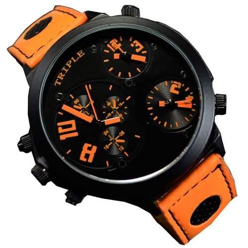 XXL Herrenuhr Triple Timer Schwarz Orange Retro Mega Retro Design UBoot, XXL Uhr jb-537