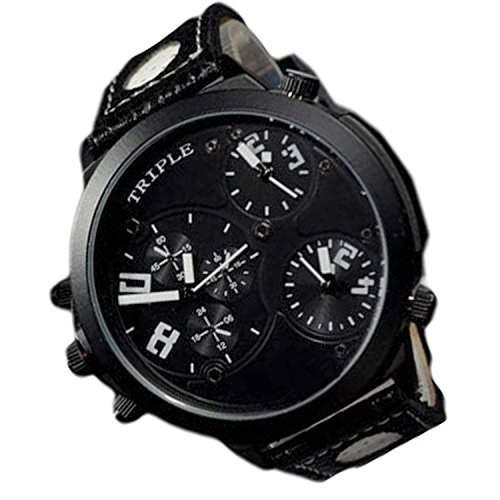 XXL Herrenuhr Triple Time Schwarz Weiss, Retro, Chrono Look Design, U-Boot, Uhr jb-546