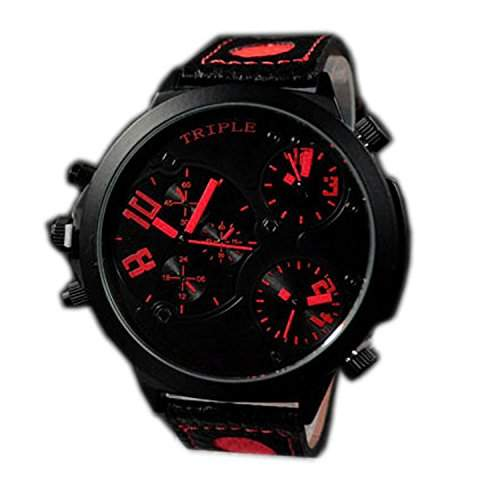 XXL Herrenuhr Triple Timer Schwarz Rot Retro Mega Retro Design UBoot, XXL Uhr jb-568