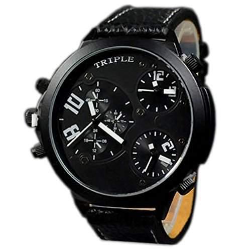 XXL Herrenuhr Triple Time Schwarz Weiss, Retro, Chrono Look Design, U-Boot, Uhr jb-576