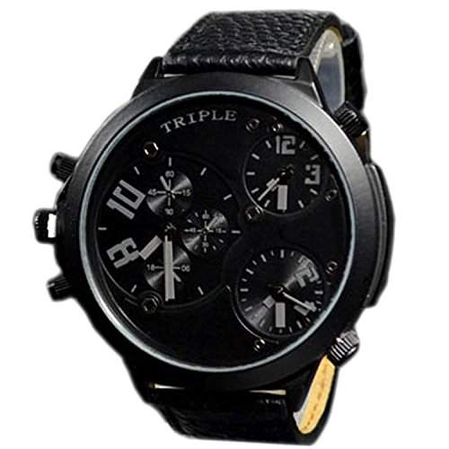 XXL Herrenuhr Triple Time Schwarz Grau, Retro, Chrono Look Design, U-Boot, Uhr jb-578