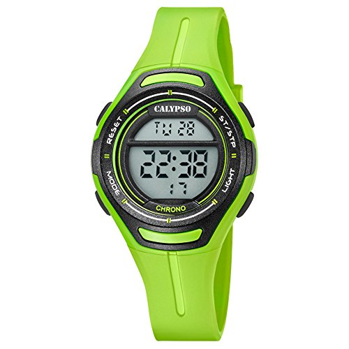 Calypso Armbanduhr fuer Damen Digitaluhr Sport K5727 6 PU Armband gruen Quarz Uhr UK5727 6