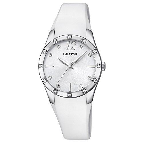Calypso Armbanduhr fuer Damen Fashion Trendy K5714 1 PU Armband weiss Quarz Uhr UK5714 1