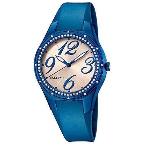 Calypso Armbanduhr fuer Damen Fashion Trendy K5721 3 PU Armband blau Quarz Uhr UK5721 3