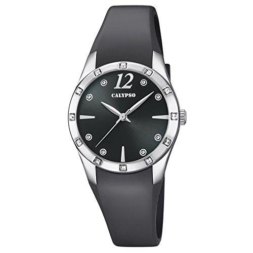 Calypso Armbanduhr fuer Damen Fashion Trendy K5714 4 PU Armband schwarz Quarz Uhr UK5714 4
