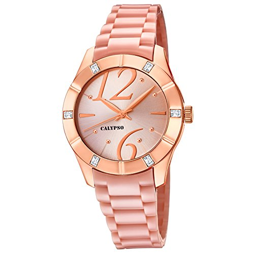 Calypso Armbanduhr fuer Damen Fashion Trendy K5715 2 PU Armband rose rosa Quarz Uhr UK5715 2