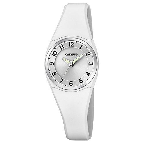 Calypso Armbanduhr fuer Damen und Herren Fashion Dame Boy K5726 1 PU Armband weiss Quarz Uhr UK5726 1