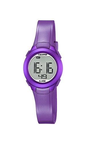 Calypso Unisex Armbanduhr Digitaluhr mit LCD Zifferblatt Digital Display und lila Kunststoff Gurt K5677 2