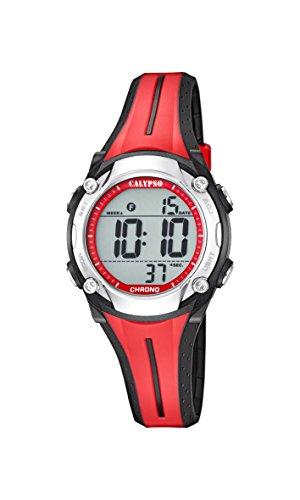 Calypso Unisex Armbanduhr Digitaluhr mit LCD Zifferblatt Digital Display und rot Kunststoff Gurt k5682 2