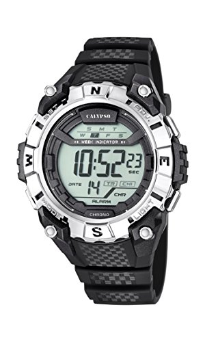 Calypso Unisex Armbanduhr Digitaluhr mit LCD Zifferblatt Digital Display und schwarz Kunststoff Gurt k5683 1
