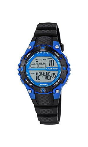 Calypso Unisex Armbanduhr Digitaluhr mit LCD Zifferblatt Digital Display und schwarz Kunststoff Gurt k5684 5