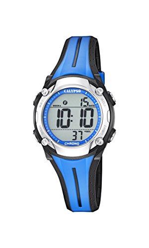 Calypso Unisex Armbanduhr Digitaluhr mit LCD Zifferblatt Digital Display und Blau Kunststoff Gurt k5682 1