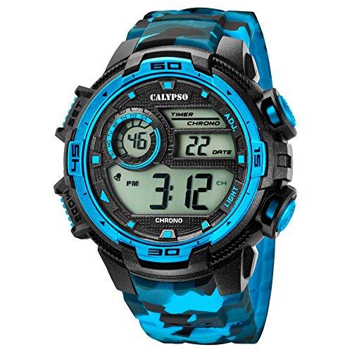 Calypso Armbanduhr fuer Herren Sport Digital for Man K5723 4 PU Armband schwarz hellblau Quarz Uhr UK5723 4