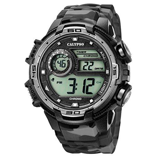 Calypso Armbanduhr fuer Herren Sport Digital for Man K5723 3 PU Armband schwarz grau Quarz Uhr UK5723 3