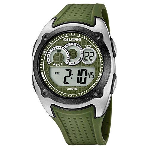 Calypso Armbanduhr fuer Herren Sport Digital for Man K5722 2 PU Armband gruen Quarz Uhr UK5722 2