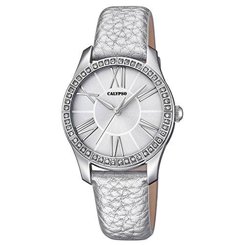 Calypso Fashion analog Leder Armband silber Quarz Uhr Ziffernblatt silber UK5719 1