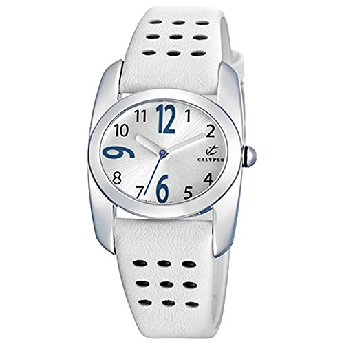 CALYPSO Fashion analog Leder Armband weiss Quarz Uhr Ziffernblatt weiss UK5195 1