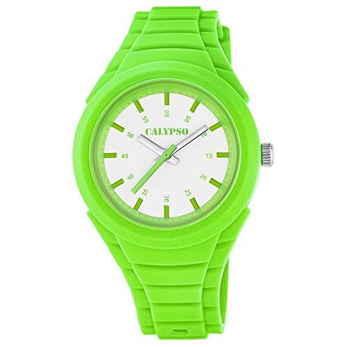 Calypso Damen Armbanduhr Fashion analog PU Armband gruen Jugend Uhr Ziffernblatt weiss gruen UK5724 5