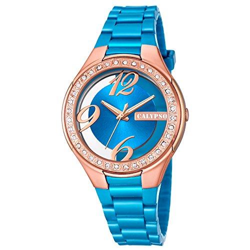 Calypso Damen Armbanduhr Fashion analog PU Armband hellblau Quarz Uhr Ziffernblatt blau kupfer UK5679 B